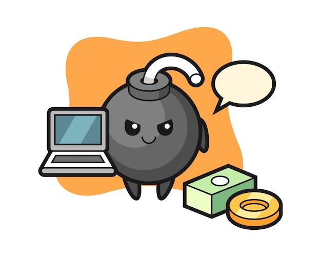 Illustrazione della mascotte della bomba come hacker