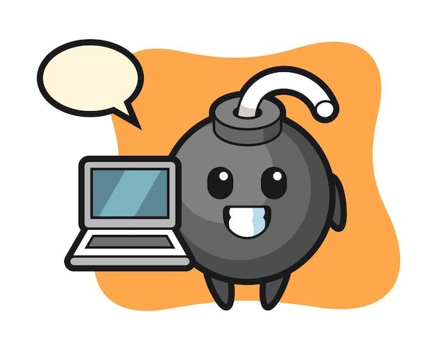 Illustrazione della mascotte della bomba con un computer portatile