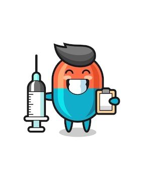 Illustrazione della mascotte della capsula come medico, design in stile carino per maglietta, adesivo, elemento logo