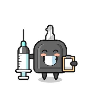 Mascotte illustrazione della chiave dell'auto come un medico, design in stile carino per maglietta, adesivo, elemento logo