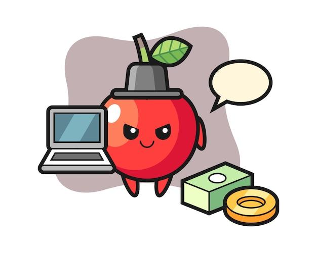 Illustrazione della mascotte della ciliegia come pirata informatico, progettazione sveglia di stile