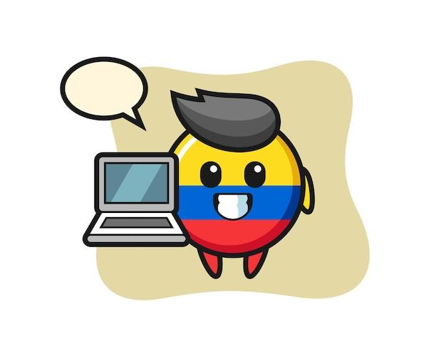 Illustrazione della mascotte del distintivo della bandiera della colombia con un laptop, design in stile carino per maglietta, adesivo, elemento logo