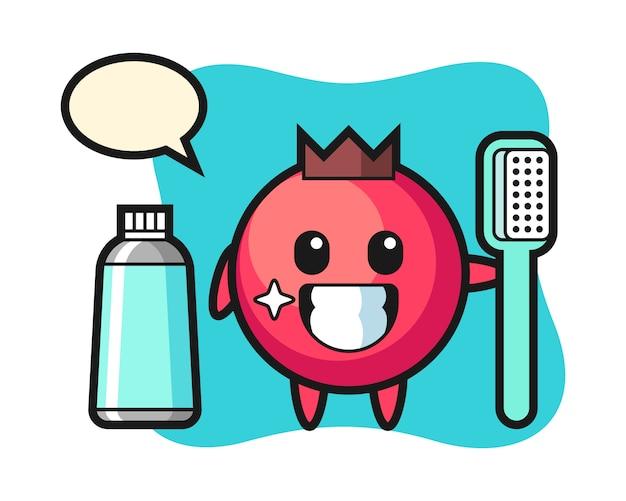 Illustrazione mascotte di mirtillo rosso con uno spazzolino da denti, stile carino, adesivo, elemento del logo