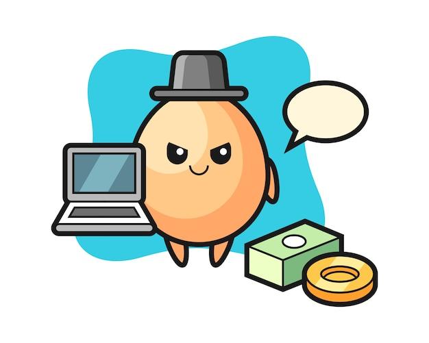 Illustrazione della mascotte dell'uovo come un hacker, design in stile carino per t-shirt, adesivo, elemento logo Vettore Premium