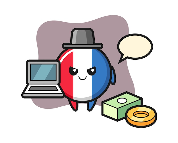 Illustrazione della mascotte del distintivo della bandiera della francia come hacker