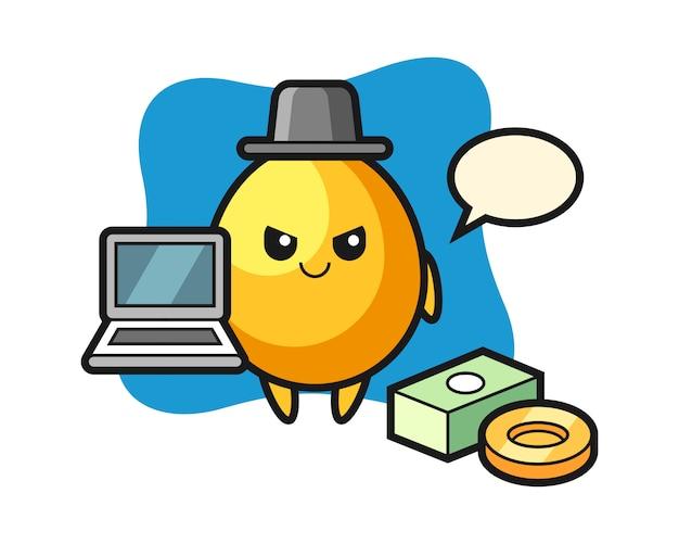 Illustrazione della mascotte dell'uovo dorato come pirata informatico, progettazione sveglia di stile