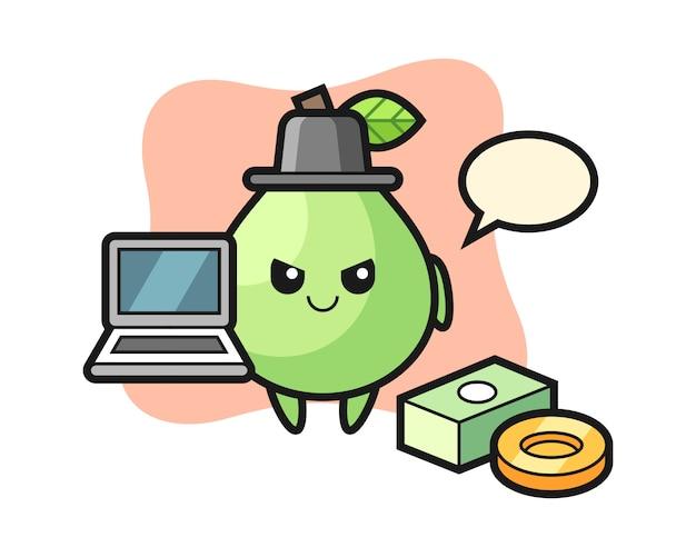 Illustrazione della mascotte di guava come un hacker, stile carino per t-shirt, adesivo, elemento logo