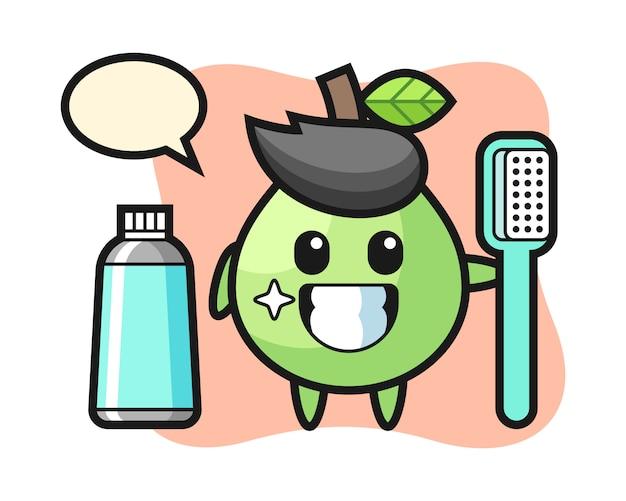 Illustrazione della mascotte della guaiava con uno spazzolino da denti, stile carino per t-shirt, adesivo, elemento logo