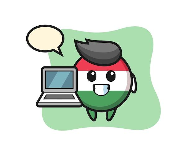 Illustrazione della mascotte del distintivo della bandiera dell'ungheria con un laptop, design in stile carino per maglietta, adesivo, elemento logo