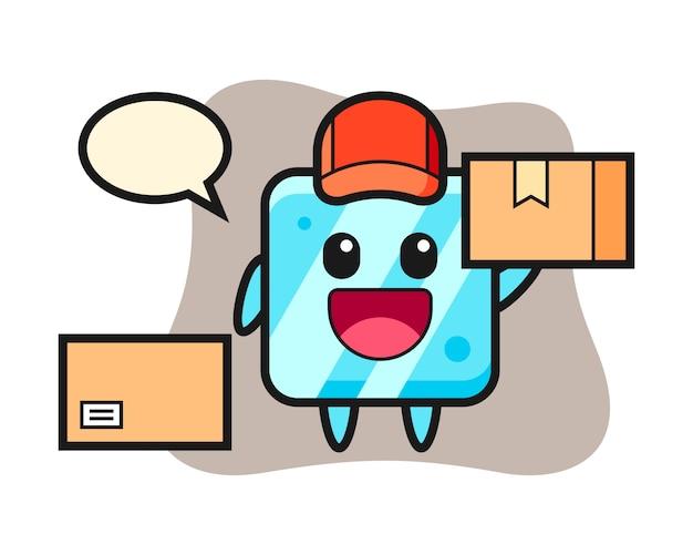 Illustrazione della mascotte del cubo di ghiaccio come corriere