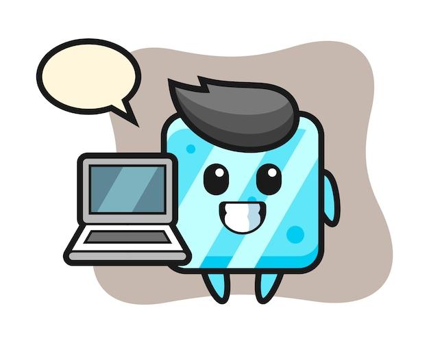 Illustrazione della mascotte del cubetto di ghiaccio con un computer portatile
