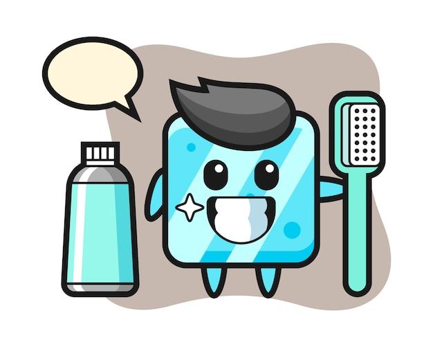 Illustrazione mascotte del cubetto di ghiaccio con uno spazzolino da denti