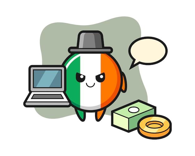 Illustrazione della mascotte del distintivo della bandiera dell'irlanda come hacker