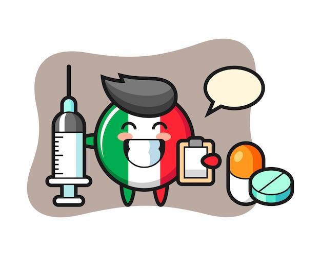 Illustrazione della mascotte del distintivo della bandiera dell'italia come medico, stile carino, adesivo, elemento del logo