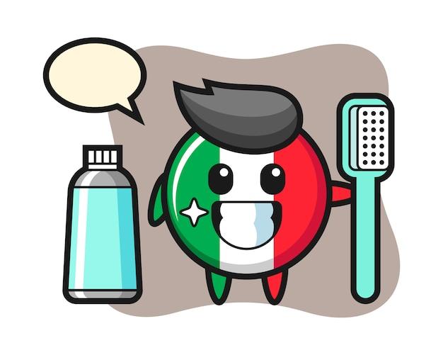 Illustrazione della mascotte del distintivo della bandiera dell'italia con uno spazzolino da denti, stile carino, adesivo, elemento del logo
