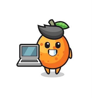 Illustrazione mascotte di kumquat con un laptop, design in stile carino per maglietta, adesivo, elemento logo
