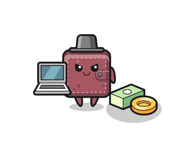Mascotte illustrazione del portafoglio in pelle come hacker