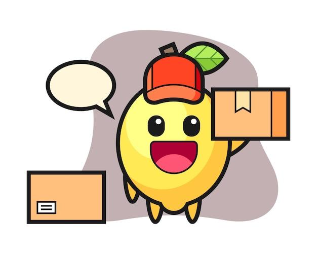 Illustrazione della mascotte del limone come corriere