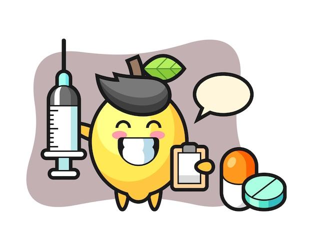 Illustrazione della mascotte del limone come medico