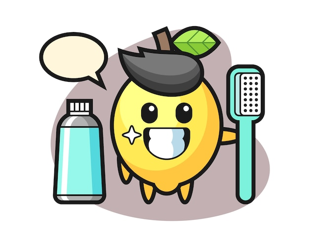 Illustrazione della mascotte del limone con uno spazzolino da denti