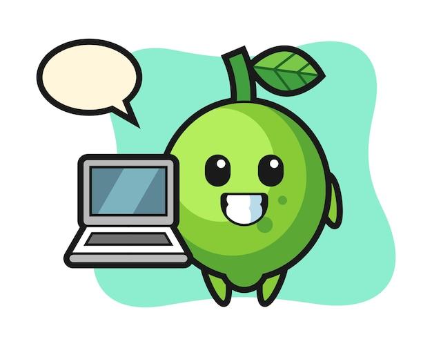 Illustrazione mascotte di lime con un laptop, stile carino, adesivo, elemento del logo