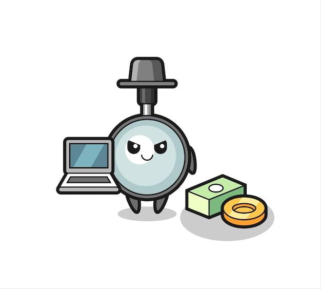 Mascotte illustrazione della lente d'ingrandimento come hacker, design in stile carino per maglietta, adesivo, elemento logo Vettore Premium