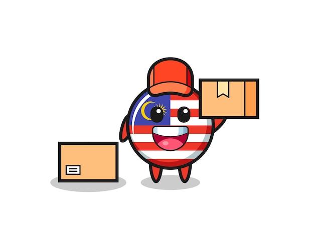 Illustrazione della mascotte del distintivo della bandiera della malesia come corriere, design in stile carino per maglietta, adesivo, elemento logo