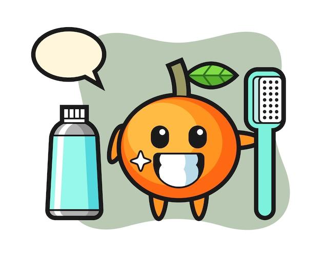Illustrazione mascotte di mandarino con uno spazzolino da denti, stile carino, adesivo, elemento del logo