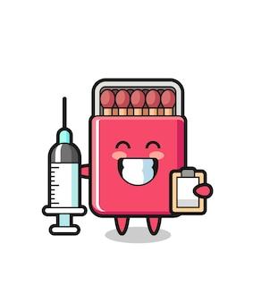 Mascotte illustrazione della scatola di fiammiferi come medico, design carino