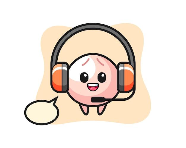 Mascotte illustrazione del panino di carne come servizio clienti, design in stile carino per maglietta, adesivo, elemento logo