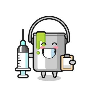 Mascotte illustrazione di barattolo di vernice come medico, design in stile carino per maglietta, adesivo, elemento logo
