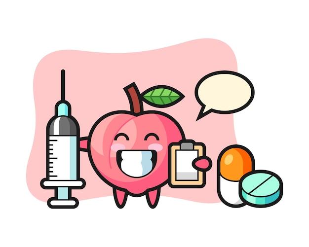 Illustrazione della mascotte della pesca come medico, design in stile carino per t-shirt