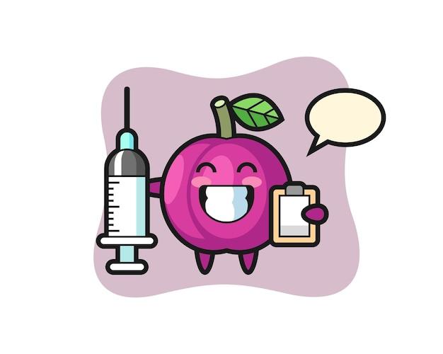Mascotte illustrazione di frutta prugna come medico, design in stile carino per maglietta, adesivo, elemento logo