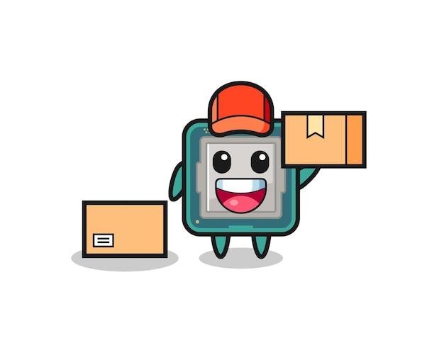 Mascotte illustrazione del processore come corriere, design in stile carino per maglietta, adesivo, elemento logo