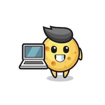 Illustrazione mascotte di formaggio rotondo con un laptop, design in stile carino per t-shirt, adesivo, elemento logo
