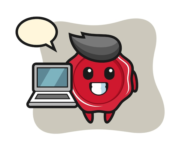 Illustrazione mascotte di ceralacca con un computer portatile