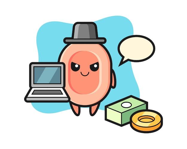 Illustrazione della mascotte di sapone come un hacker, stile carino per t-shirt, adesivo, elemento logo Vettore Premium
