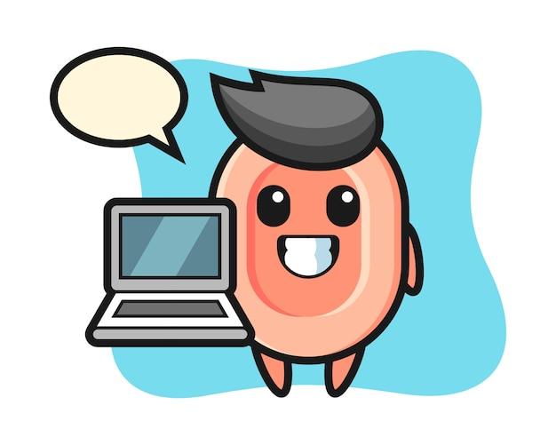 Illustrazione della mascotte di sapone con un computer portatile, stile carino per t-shirt, adesivo, elemento logo