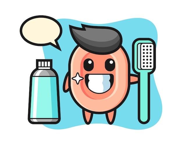 Illustrazione della mascotte di sapone con uno spazzolino da denti, stile carino per t-shirt, adesivo, elemento logo