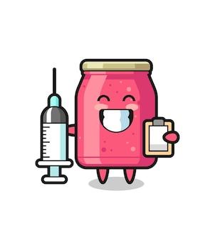 Mascotte illustrazione di marmellata di fragole come dottore, design carino