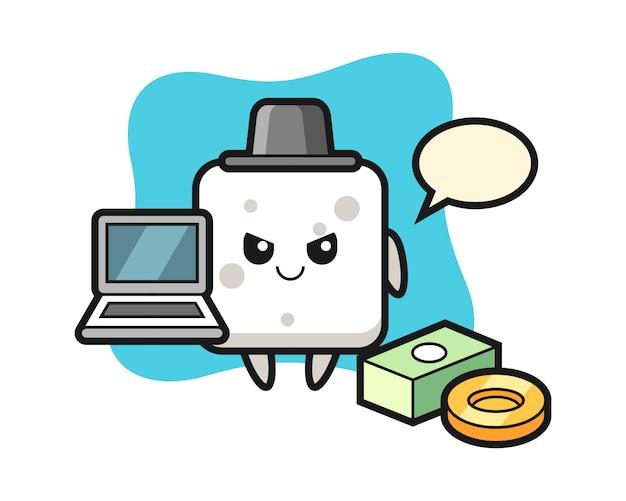 Illustrazione della mascotte del cubo di zucchero come un hacker, stile carino per t-shirt, adesivo, elemento logo