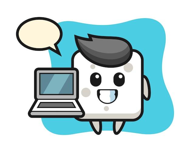 Illustrazione della mascotte del cubo di zucchero con un computer portatile, stile carino per t-shirt, adesivo, elemento logo