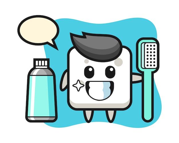 Illustrazione della mascotte del cubo di zucchero con uno spazzolino da denti, stile carino per t-shirt, adesivo, elemento logo
