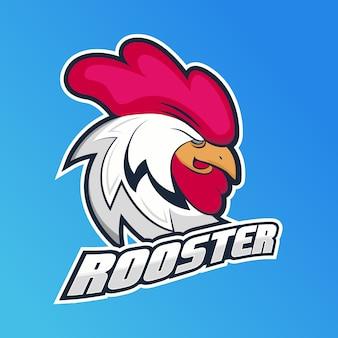 Concetto di marchio della mascotte con gallo