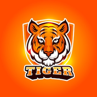 Logo design mascotte con tigre Vettore Premium