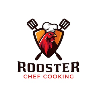 Logo mascotte dello chef gallo che cucina pollo alla griglia barbecue ristorante cibo logo design vector