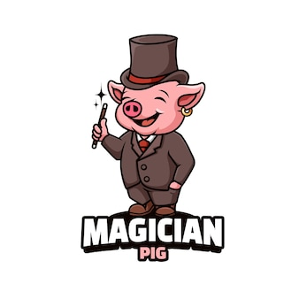 Logo della mascotte con maiale isolato su bianco