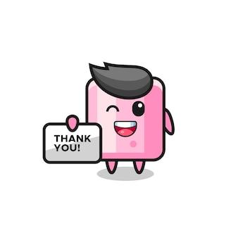 La mascotte del marshmallow con in mano uno striscione che dice grazie, design in stile carino per maglietta, adesivo, elemento logo