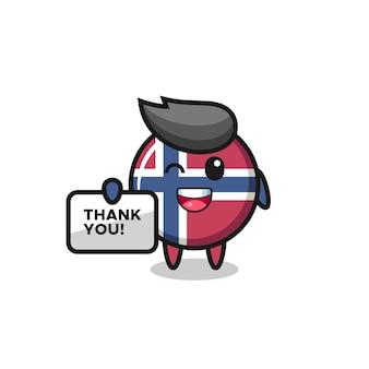 La mascotte del distintivo della bandiera della norvegia con in mano uno striscione che dice grazie, design in stile carino per maglietta, adesivo, elemento logo