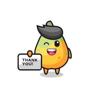 La mascotte della papaya con in mano uno striscione che dice grazie, un design in stile carino per maglietta, adesivo, elemento logo